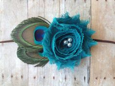 Peacock feather and flower headband - newborn/baby/toddler headband - feather headband - newborn photo prop on Etsy, $9.00