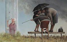 Marius van Dokkum: Gossip, the glass house Cherbourg, Friend Crafts, Umbrella Art, Dutch Painters, Humor Grafico, Dutch Artists, Pop Surrealism, Naive Art, Funny Art