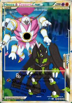 This is a Hoopa & Zygaurd Legend. I can make you one just like it a real card version! Pokemon Umbreon, My Pokemon, Dragon Type Pokemon, Pokemon Cards Legendary, Make It Yourself, Feelings, School, Anime, Letters