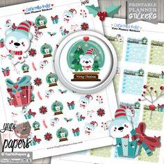 Polar Bear Stickers, Planner Stickers, Bear Planner Stickers, Kawaii Stickers, Christmas Stickers, Planner Accessories, Season Stickers