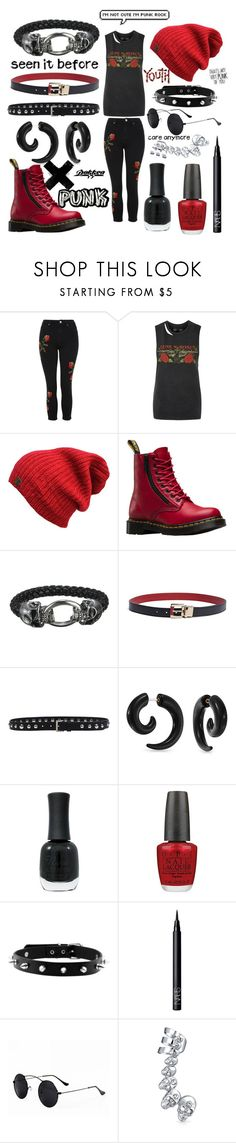 """Guns n Roses Outfit"" by daisy-may-a ❤ liked on Polyvore featuring Topshop, Dr. Martens, Tommy Hilfiger, Prada, Bling Jewelry, Charlotte Russe, OPI and NARS Cosmetics"