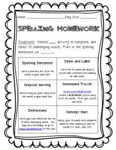 Words Their Way Spelling Homework