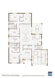 Reflection Floorplan http://www.dalealcock.com.au/New-Homes/Display-Homes/Reflection/Build/Floor-Plan/
