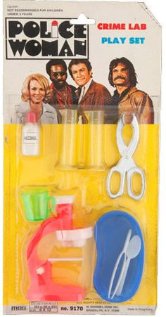 """A peculiar crime lab play set was produced in conjunction with the """"Police Woman"""" TV show. Police Crime, Doll Games, The Way I Feel, Vintage Tv, Retro Toys, Cultura Pop, Classic Tv, Vintage Children, Cool Toys"""