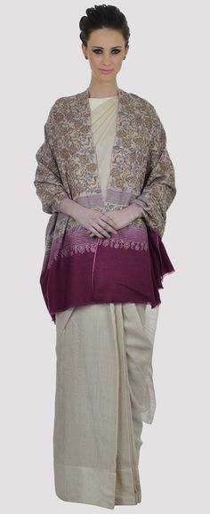 Light Natural-Magenta Kalamkari -Sozni Jamawar Pure Pashmina Shawl