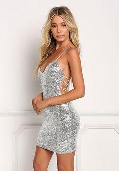 Silver Sequin Multi Strap Back Bodycon - Dresses Hoco Dresses, Tight Dresses, Homecoming Dresses, Sexy Dresses, Evening Dresses, Fashion Dresses, Formal Dresses, Fitted Dresses, Homecoming Makeup