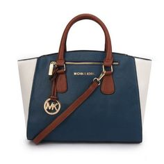 Michael Kors Sophie Large Navy White Satchels Are Hot Sale In The Market In Those Years!