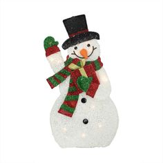 """32"""" Lighted Plush Tinsel Waving Snowman with Gift Christmas Yard Art Decoration"""