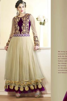 Cream Faux Georgette #Anarkali #Suit with Embroidered and Lace Work - Rs. 4,449.  #zohraa