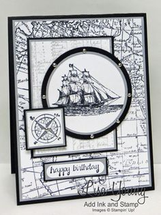 Lots of stamping and layering for this masculine card.  My blog post: http://addinkandstamp.blogspot.com/2016/04/the-open-sea-in-black-and-white.html  TFL. Lisa Young