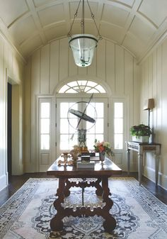 When it comes to choosing a foyer or entry wall colors it all depends of the size of your space and how open or closed it is. Barrel Vault Ceiling, Painted Wood Walls, Interior Design Portfolios, Ceiling Treatments, Enchanted Home, Entry Hallway, Atlanta Homes, Ceiling Design, Ceiling Ideas
