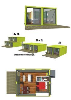 загородный дом из бытовок с терассой