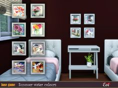 evi's summer watercolours Sims Resource, Summer Pictures, Sims 4, Have Fun, Gallery Wall, Watercolor, Home Decor, Paintings, Pen And Wash