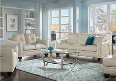 Cindy Crawford Home Marcella Ivory Leather 3 Pc Living Room. $2,288.00.  Find affordable Leather Living Rooms for your home that will complement the rest of your furniture.