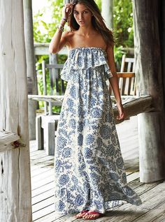 Ruffled Maxi Dress in blue multicolor.  If I get any new maxis this year, this will very well be THE ONE!