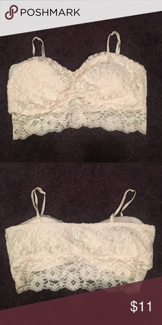 Ivory lace bandeau Ivory lace bandeau with bra padding also can be worn as cropped top Bloomingdale's Tops Crop Tops