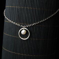 Pearl & Silver Hoop Pendant Necklace