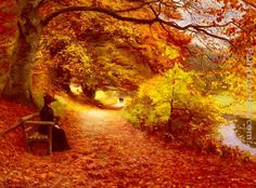 Hans Anderson Brendekilde -  A Wooded Path In Autumn