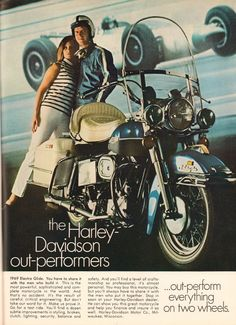 Youre viewing an original vintage magazine advertisement for the 1969 Harley-Davidson Electra Glide, salvaged from the January 1969 issue of Hot Rod magazine! Classic Harley Davidson, Harley Davidson Street Glide, Harley Davidson News, Harley Davidson Motorcycles, Blue Motorcycle, Motorcycle Camping, Camping Gear, Motorcycle Museum, Hd Vintage