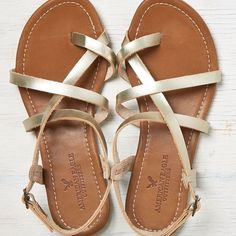 ab76ce76013f American Eagle Strappy Criss Cross Sandals ( 25) ❤ liked on Polyvore  Fashion 101