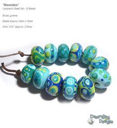 WAVERIDERS Lampwork Beads Handmade Blue Green TEal Lime Cobalt Aqua Ocean colors Set of 12