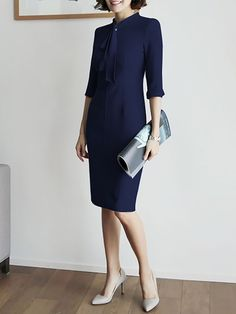 27839d9e15c Tie-neck Midi Dress Bodycon Work 3 4 Sleeve Solid Dress Midi Dress Work