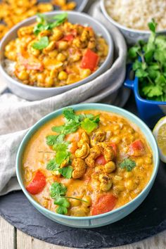 This Lentil Chickpea Yellow Curry is vegan and gluten free and you can make it with just 6 ingredients in 2 easy steps. Get ready for the most incredible, delicious plant-based meal. Lately I've been craving curries. Vegan Indian Recipes, Lentil Recipes, Veg Recipes, Curry Recipes, Lunch Recipes, Whole Food Recipes, Vegetarian Recipes, Cooking Recipes, Healthy Recipes