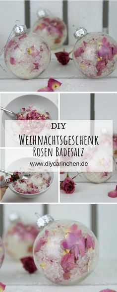 DIY bath salt with rose petals packed in a Christmas tree bauble itself . - Alle DIYs von DIYCarinchen - DIY bath salt with rose petals packed in a Christmas tree bauble itself . Crafts For Teens To Make, Crafts To Sell, Easy Crafts, Diy And Crafts, Easy Diy, Sell Diy, Kids Diy, Decor Crafts, Perfect Christmas Gifts