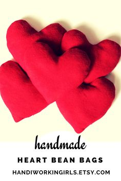 Bright Red Hot Pink Corduroy Heart Shaped Bean Bags Toy