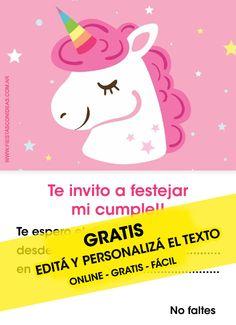 Tarjeta de cumpleaños temática Unicornios. Personalizá el texto gratis.
