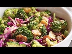 CLEAN Broccoli Salad - non-mayo-based vegan goodness! with purple cabbage, raisins, almonds, green onions, and almond butter dressing. Whole 30 Recipes, Raw Food Recipes, Salad Recipes, Healthy Recipes, Healthy Foods, Raw Broccoli, Broccoli Salad, Eating Raw, Clean Eating