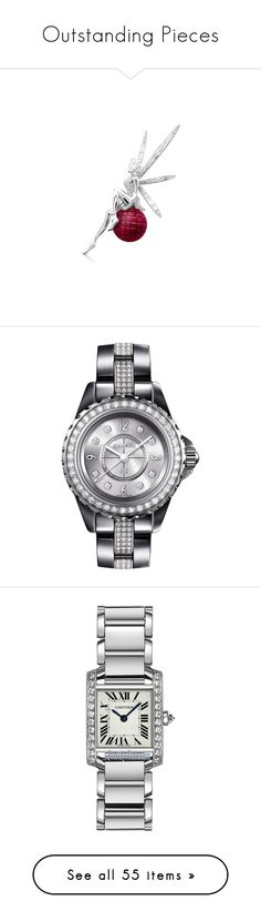 Outstanding Pieces by tina-abbara on Polyvore featuring polyvore, women's fashion, jewelry, watches, water resistant watches, ceramic crown, diamond jewelry, chanel, diamond jewellery, cartier watches, white gold watches, white gold jewelry, roman numeral watches, blue watches, sports jewelry, sports wrist watch, sport jewelry, chopard jewelry, no color, polish jewelry, vintage crown, crown jewelry, vintage wrist watch, vintage watches, stainless steel watches, leather wrist watch, leather…