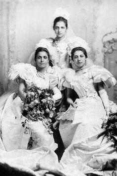 Princess Bamba, Catherine and Sophia Duleep Singh at their debut at Buckingham Palace, 1894