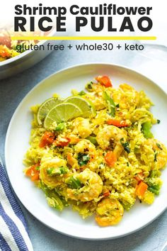 Easy to make, one pot Shrimp Cauliflower Rice Pulao - this bright and colourful, low carb dish comes together in under 30 minutes with a little prep! Gluten Free Recipes For Dinner, Healthy Dinner Recipes, Paleo Recipes, Low Carb Recipes, Paleo Dinner, Veggie Recipes, Yummy Recipes, Chicken Recipes, Cauliflower Recipes