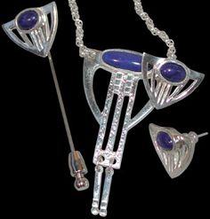 Dard Hunter jewelry - Tasteful for all occasions, this reproduction jewelry based on the 1909 originals will be immediately recognizable for those in the know. Composed of sterling silver and lapis. $274.95.