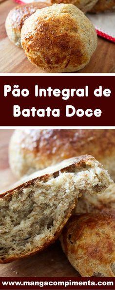 Receita de Pão Integral de Batata Doce - para um café da manhã ou lanche da tarde mais saudável. #receitas