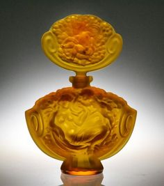 F. Halama Czech Amber Glass Perfume Bottle : Lot 894