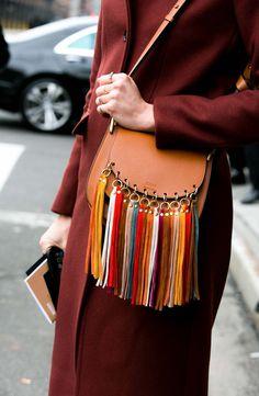 'Small Hudson' Suede Tassels Leather Shoulder Bag
