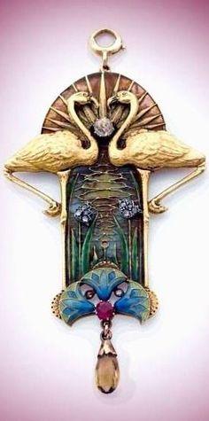 An Art Nouveau gold, plique-à-jour enamel, ruby, citrine and diamond pendant by Eugène Feuillatre, Paris circa 1900....