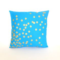 Peacock Blue and Gold Scattered Circles pillow by KatieScarlettCo, $26.50