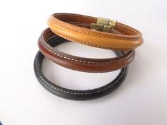 Men S Leather Bracelet Cuff By Luxuriousleathers Black