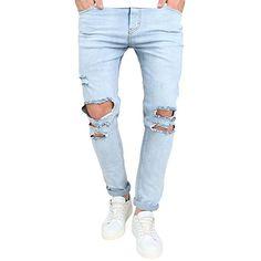 f82258959d BA Zha Men s Stretchy Ripped Skinny Biker Jeans Destroyed Taped Slim Fit Denim  Pants Male Leisure Sports Stitching Design Slacks Drawstring Apparel  Jogging ...