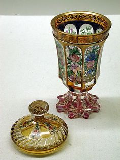 Standing Cup and Cover 1840-1850 bohemian glass
