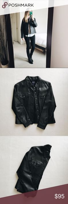 """GAP black genuine leather jacket I've loved wearing this jacket but was gifted a new one so it's time to share! Straight silhouette with a tailored fit. Hits at waist. Collared and lined. Long sleeves, button cuffs. Excellent condition. No marks or stains. My measurements: Height - 5'5"""", Waist - 26"""", Hips - 35"""", Bust - 32"""" GAP Jackets & Coats"""