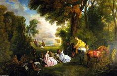 Jean Antoine Watteau - halt` durante el caza