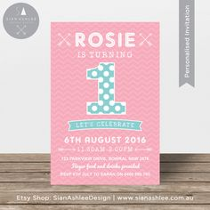 First Birthday Invitation   Polkadots, Chevron, Zigzag, Arrows   Pink and Teal   Printable Invitation   Girls Party   By Sian Ashlee Design by SianAshleeDesign on Etsy https://www.etsy.com/au/listing/286782501/first-birthday-invitation-polkadots