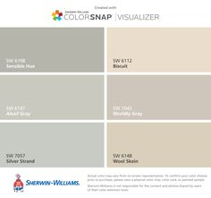 I like the right column top and bottom color. (Kitchen cabinet and wall) found these colors with ColorSnap® Visualizer for iPhone by Sherwin-Williams: Sensible Hue (SW Aloof Gray (SW Silver Strand (SW Biscuit (SW Worldly Gray (SW Wool Skein (SW Interior Paint Colors For Living Room, Paint Colors For Home, House Colors, Wall Colors, Room Colors, Peppercorn Sherwin Williams, Sw 7036, Dark Wood Bedroom Furniture, Painted Furniture