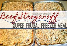 Beef Stroganoff Freezer Meal Recipe I've been making some version of this super frugal easy Beef Stroganoff freezer meal recipe for about 20 years now. On my last large family freezer cooking day, I made it with brown rice since my Instant Pot cooks rice so perfectly! This would also be amazing with ground sausage as … Freezable Meals, Make Ahead Freezer Meals, Freezer Cooking, Frugal Meals, Freezer Recipes, Bulk Cooking, Budget Recipes, Vegetarian Cooking, Crockpot Meals