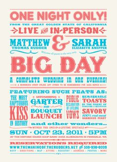 circus style typography for wedding invitations, save the date, reception signage, etc.