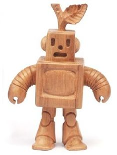 Wooden Robot figure by Spencer Hansen, produced by Blamo Toys. Front view.